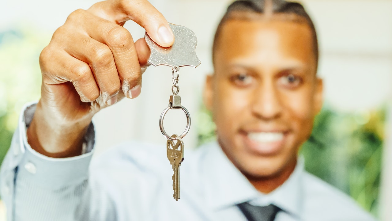 first time home buyer with a key