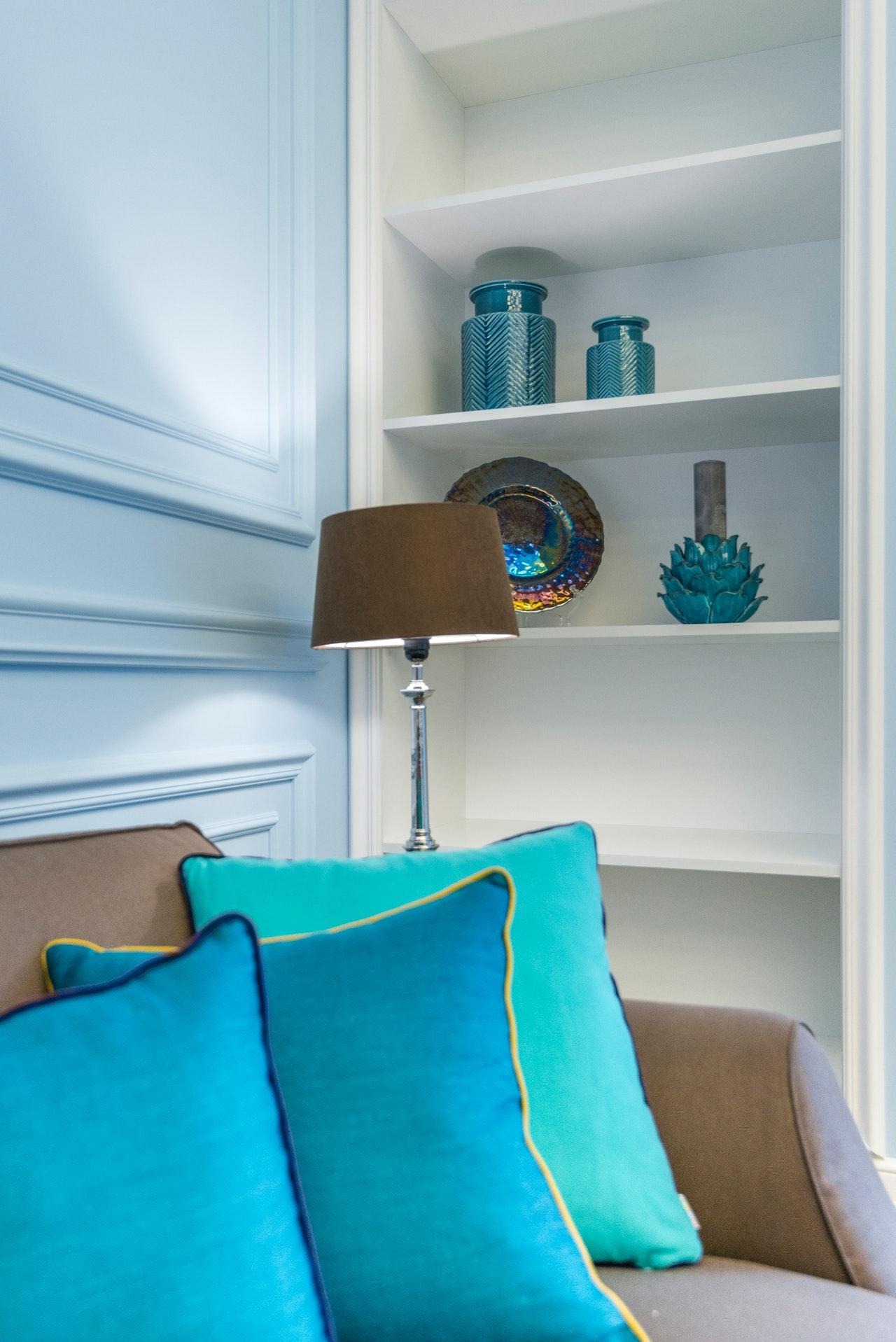 blue pillows on sofa as decor