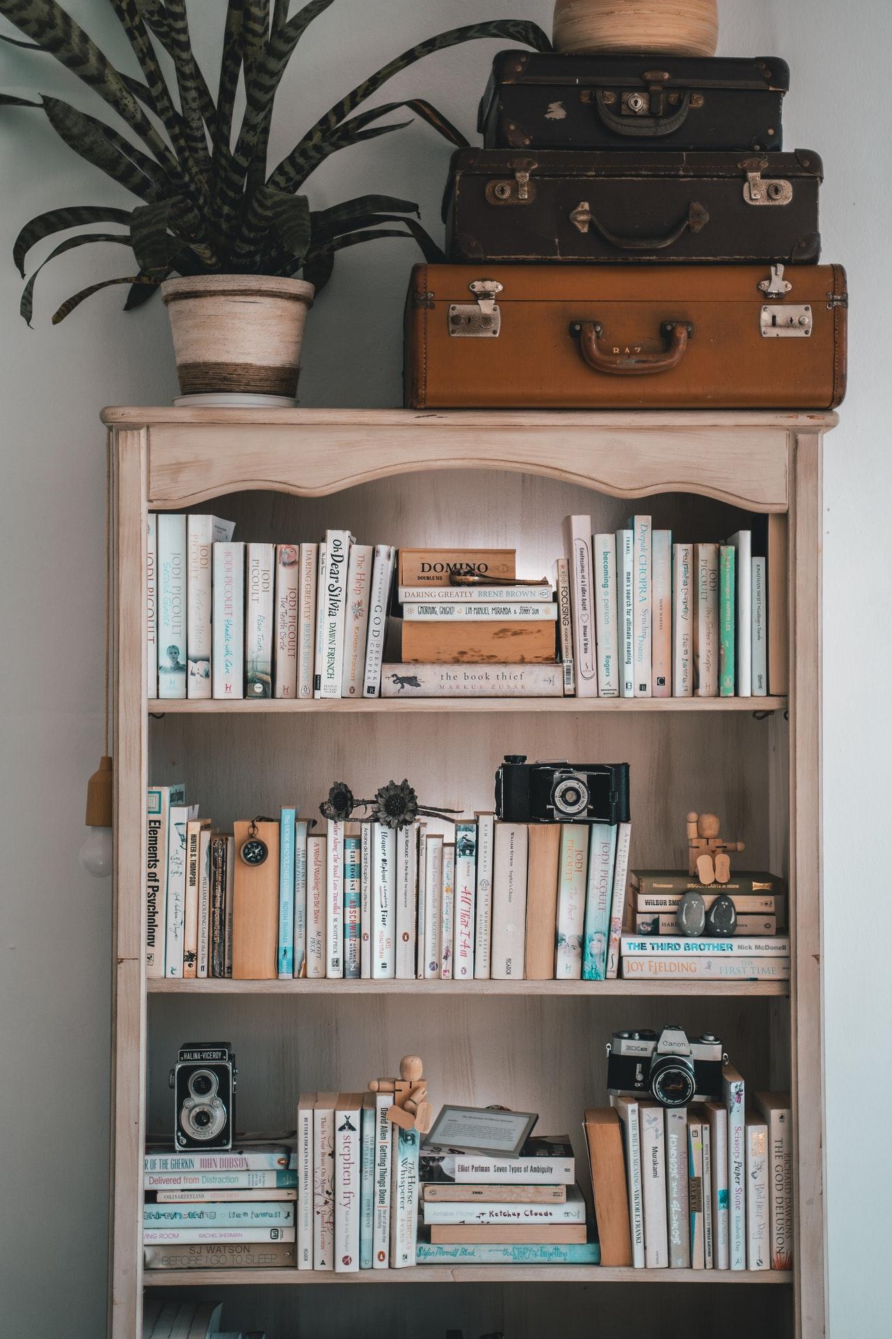 small home decor items on shelves
