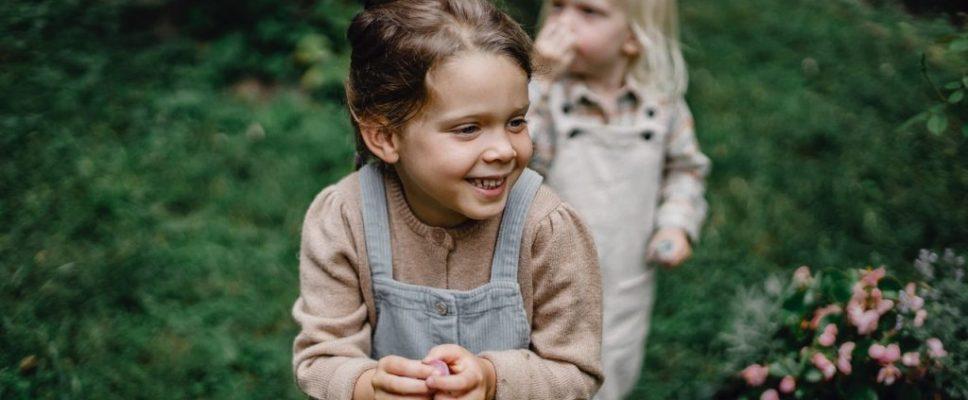 children in family-friendly backyard