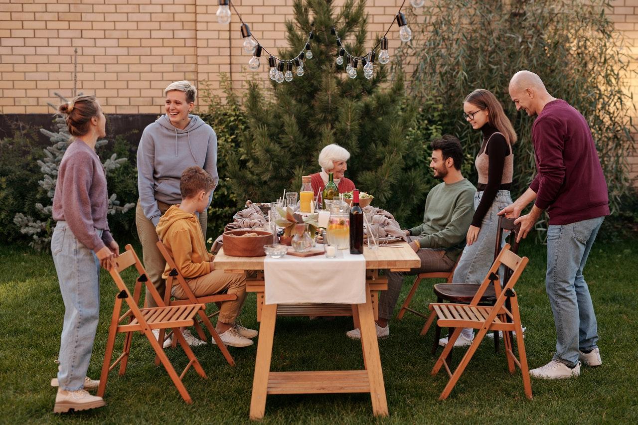 family in backyard